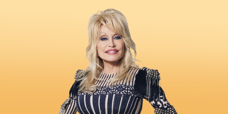Dolly Parton on yellow background