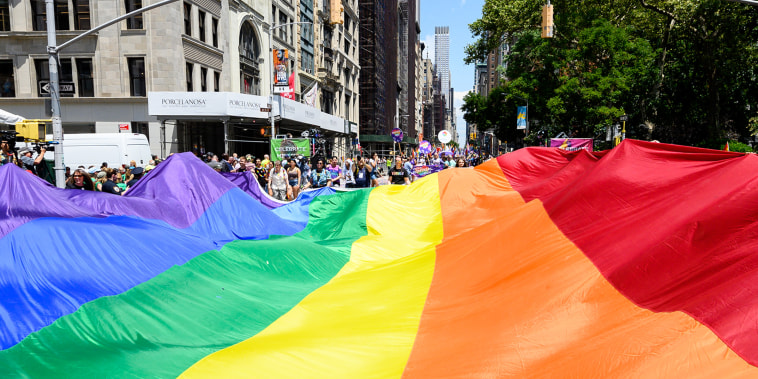A huge LGBT rainbow flag during the New York City Pride