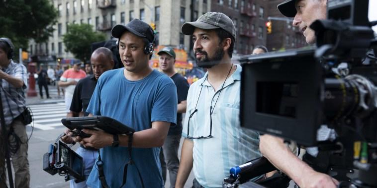 "Jon Chu and Lin-Manuel Miranda on set of \""In The Heights.\"""