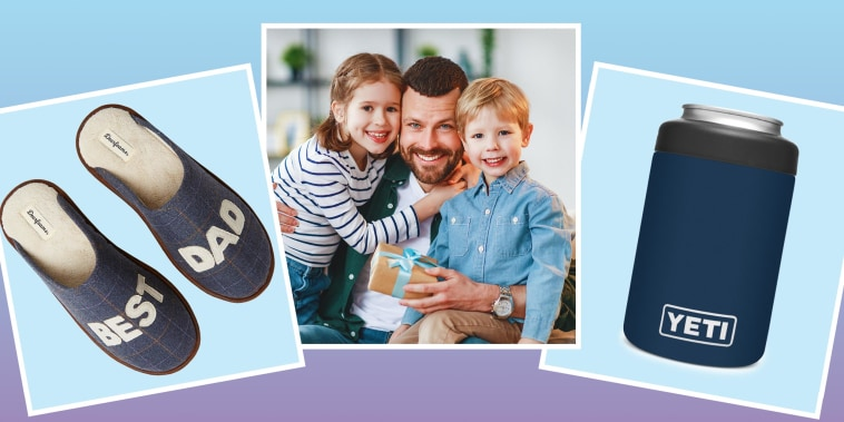 Illustration of adorable smiling little sister and brother hugging happy dad with gift box, yeti cooler, and best dad slippers