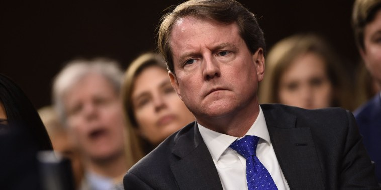 Image: White House Counsel Don McGahn listens during a hearing of the Senate Judiciary Committee on the nomination of Brett Kavanaugh to the U.S. Supreme Court.