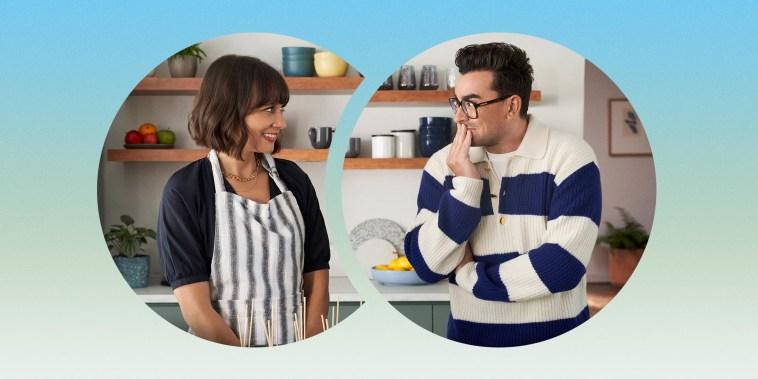 Image of celebrities Dan Levy and Rashida Jones