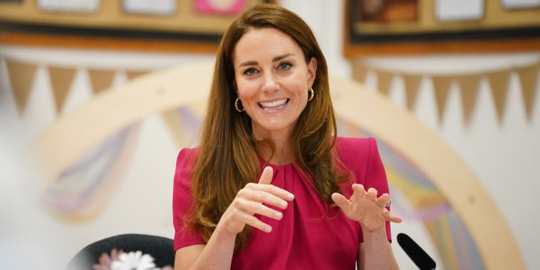 G7 Summit. The Duchess of Cambridge participating in a roundtable discussion with a number of representatives from the early years sector who have been influential in the Duchess' work in this space, during a visit to Connor Downs Academy in Hayle, West Cornwall, during the G7 summit in Cornwall. Picture date: Friday June 11, 2021. See PA story POLITICS G7. Photo credit should read: Aaron Chown/PA Wire URN:60300830 (Press Association via AP Images)