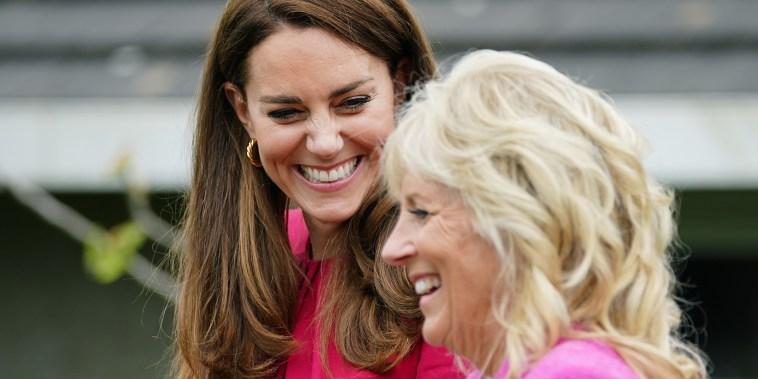 G7 Summit. The Duchess of Cambridge and US First Lady Jill Biden