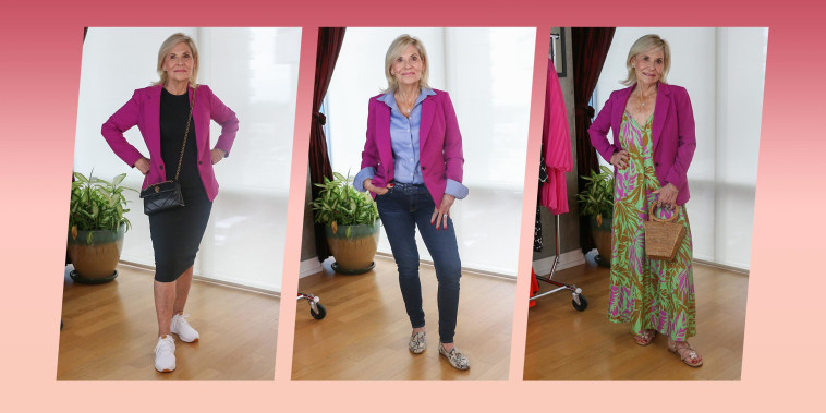 Melissa Chataigne shows three different ways and styles to wear a pink jacket