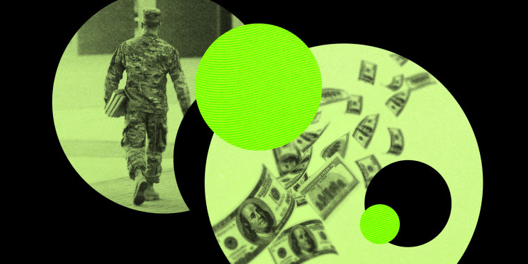 Illustration shows a soldier walking with textbooks and money flying away.
