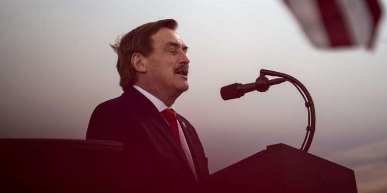 Image: Michael Lindell, CEO of MyPillow Inc., speaks during a campaign rally for President Donald Trump in Duluth, Minn., on Sept. 30, 2020.