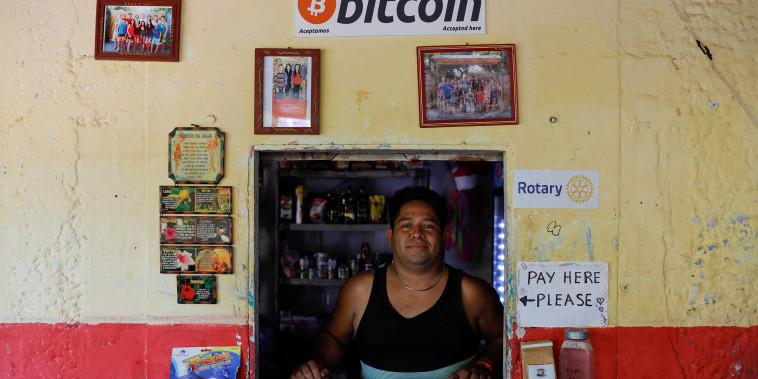 Image: Roberto Carlos Silva, owner of La Zontena store, poses at his business where he accepts Bitcoin at El Zonte Beach in Chiltiupan, El Salvador,