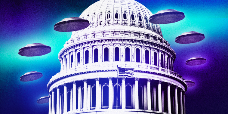 Illustration of glowing UFO's surrounding the Capitol dome in Washington, DC.