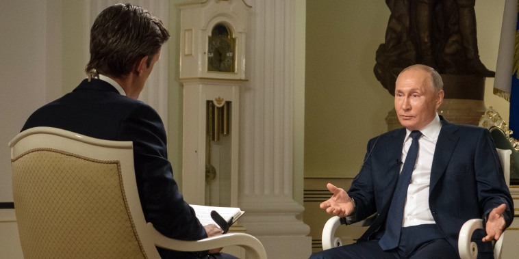 Image: Vladimir Putin during an interview with Keir Simmons