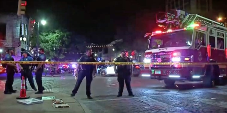 Police respond at the scene of a shooting in Austin, Texas, on June 12, 2021.