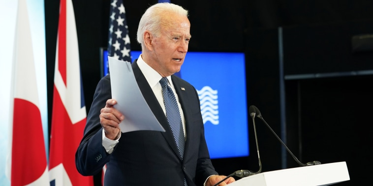 President Joe Biden speaks at the end of the G7 summit, at Cornwall Airport Newquay, Britain, on June 13, 2021.