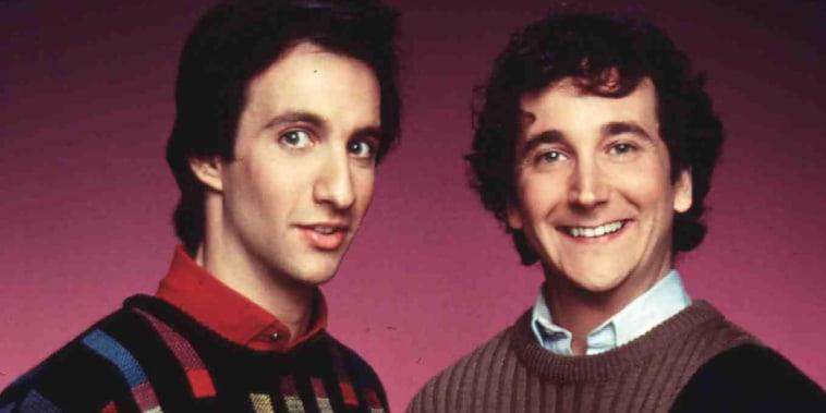 Balki Bartokomous (Bronson Pinchot), Larry Appleton (Mark Linn-Baker) *** Local Caption *** 1986, Perfect Strangers, Ein Grieche Erobert Chicago