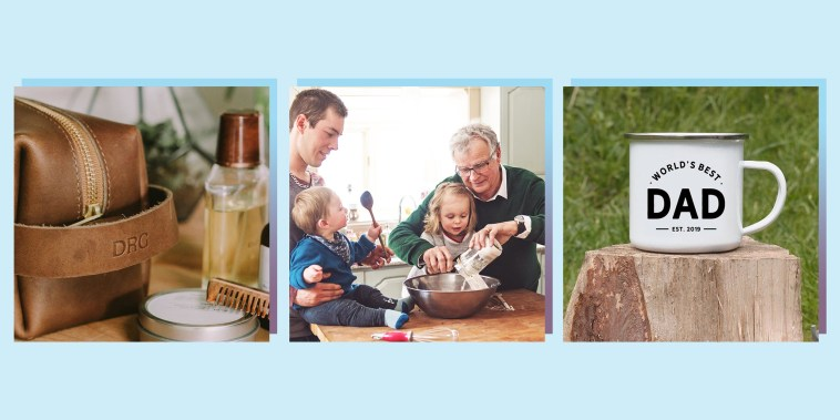Illustration of a Multi-generation family spending time together for Father's Day, a World's Best Dad Mug and a personalized shaving kit set