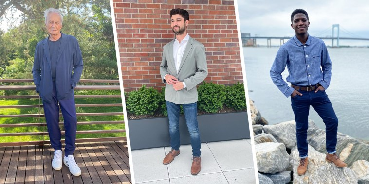 Three different guys wearing different styles of outfits