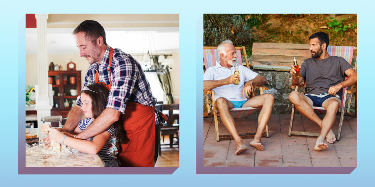 Father and daughter kneading pasta dough on kitchen island and Senior man and mid adult man relaxing by the pool in back yard by the swimming pool. Sitting in lounge chairs and drinking beer.