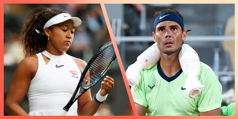 Split image of Rafael Nadal and Naomi Osaka