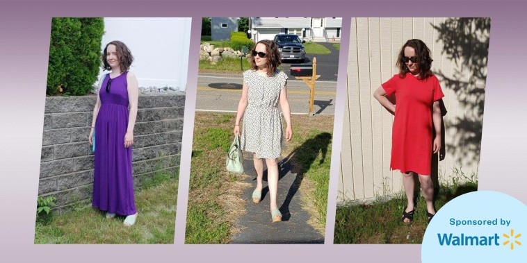 Chrissy Callahan wearing three different dresses from Walmart