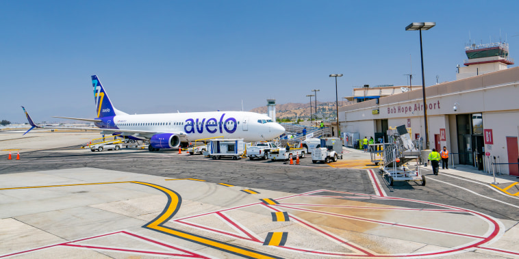Image: Avelo Airlines Boeing 737-800 prepares for boarding at Hollywood Burbank Airport on May 30, 2021.
