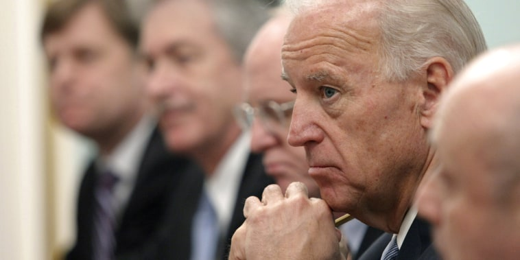 Image: Then Vice President Joe Biden listens to Russian Prime Minister Vladimir Putin, not shown, during their meeting in Moscow, on March 10, 2011.