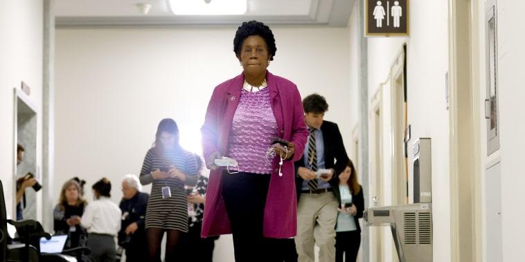 Representative Sheila Jackson Lee, D-Texas, walks through the Rayburn House Office building in Washington, D.C., U.S., on June 4, 2021.