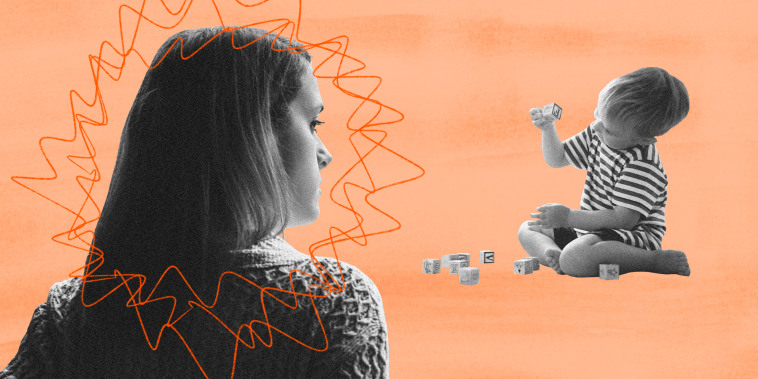 Illustration of a mother radiating red lines watching her child play with blocks.
