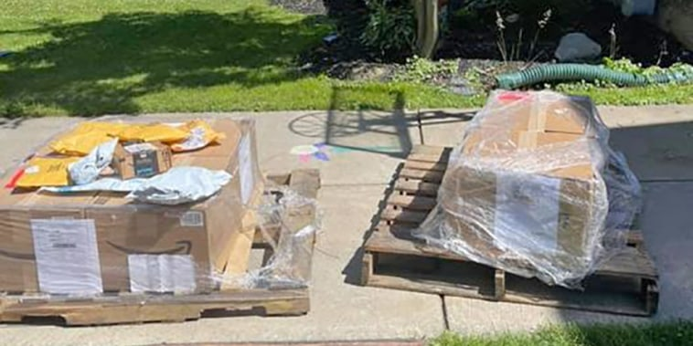 Image: Amazon boxes delivered to Jillian Cannan's home in Buffalo, N.Y., on June 16, 2021.
