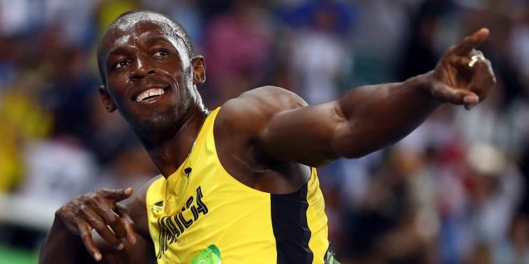 Rio Olympics - Athletics - Final - Men's 200m Final - Olympic Stadium - Rio de Janeiro, Brazil - 18/08/2016. Usain Bolt (JAM) of Jamaica celebrates after winning gold.