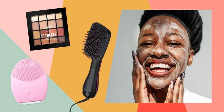Woman washing her face and three different beauty products on sale for Amazon Prime Day
