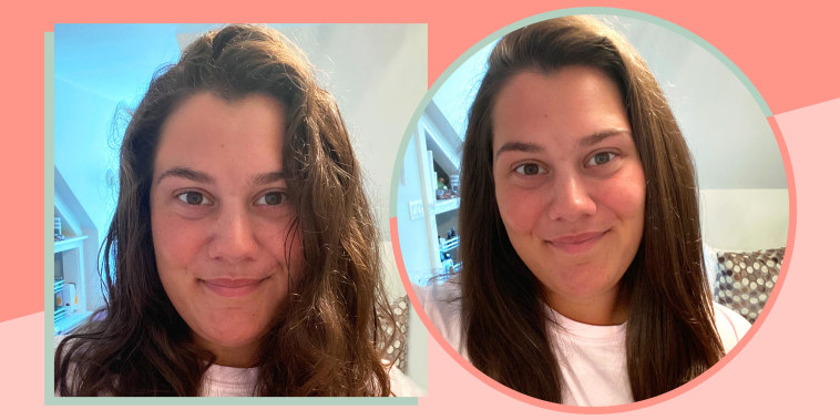 Camryn La Sala shows her hair before and after using the Revlon blow-dry hair brush