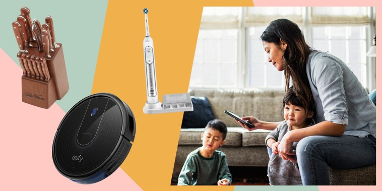 Woman on her phone while in living room with her kids and three products from Walmart still on sale