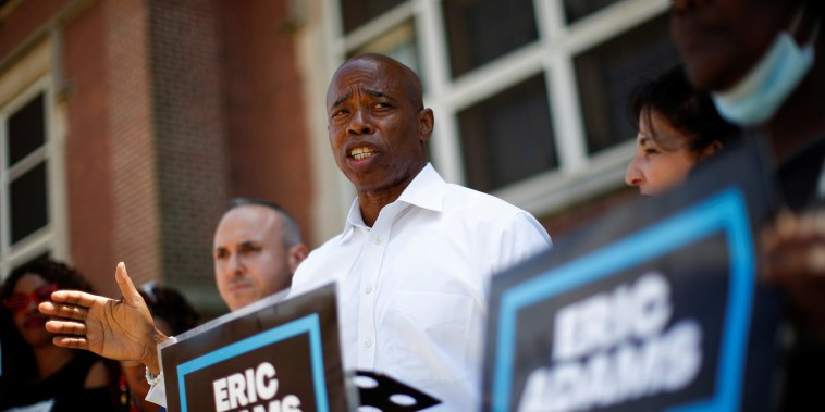 Image: Eric Adams, Democratic candidate for New York City Mayor, speaks to supporters during a campaign appearance in Coney Island, Brooklyn, New York