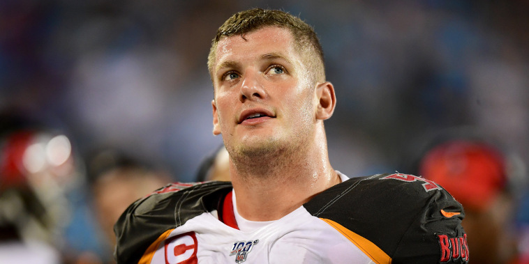 Carl Nassib of the Tampa Bay Buccaneers looks up in the second half during their game against the Carolina Panthers on Sept. 12, 2019, in Charlotte, N.C.