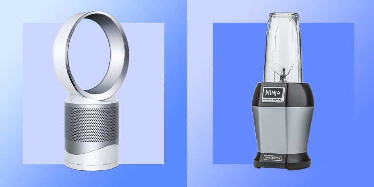 Illustration of a Vacuum, Dyson Cool Link Fan and a blender all on sale at Target