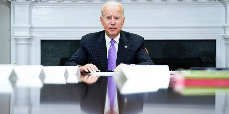 President Joe Biden speaks during a meeting in the Roosevelt Room of the White House on June 22, 2021.
