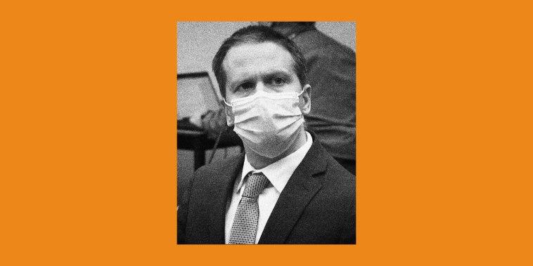 Derek Chauvin on orange background