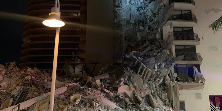 Image: The scene of a partial building collapse located at 8777 Collins Avenue in Surfside, Fla.