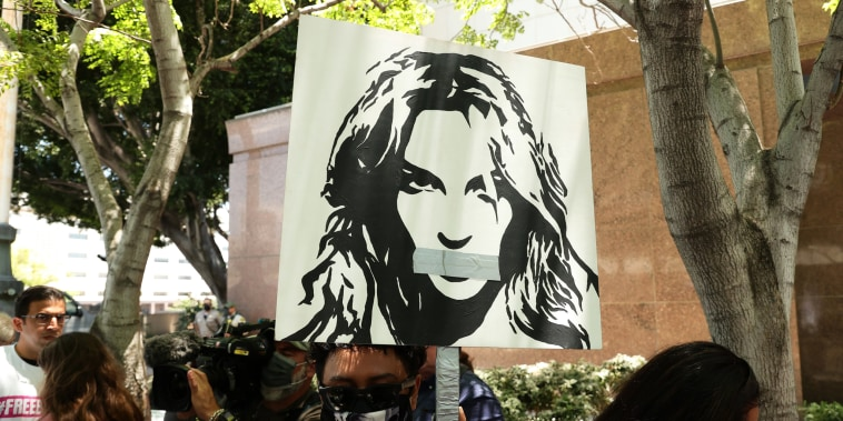 Supporters of Britney Spears protest at Los Angeles Grand Park during a conservatorship hearing for Spears on June 23, 2021, in Los Angeles.