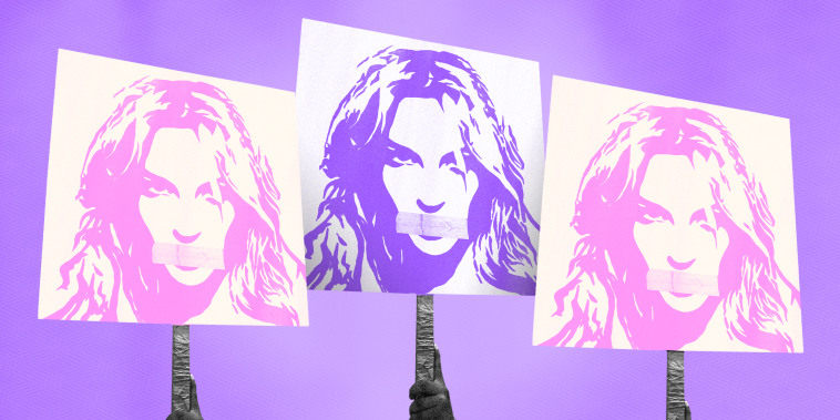Illustration of a protest sign showing Britney Spears with tape over her mouth.