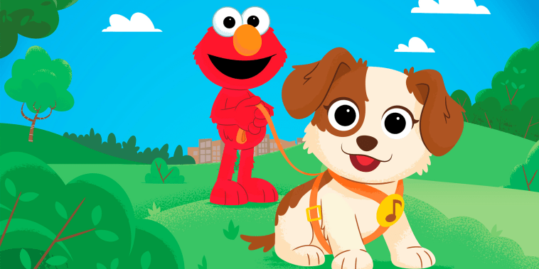 """This image released by Sesame Workshop shows characters Elmo and Tango in a scene from the new special  \""""Furry Friends Forever: Elmo Gets a Puppy,\"""" debuting on HBO Max on Aug. 5. (Sesame Workshop via AP)"""