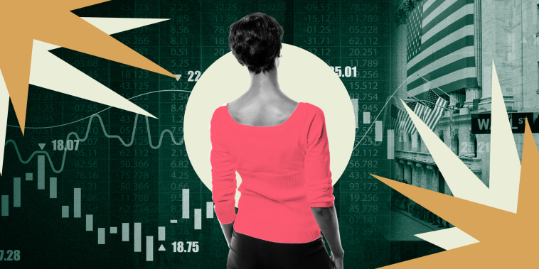 Illustration of woman looking at stock graphics