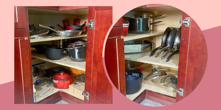 Before and after of a messy and clean pots and pan cabinet