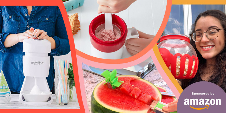 Illustration of a Ice Shaver, Ice Cream maker, Watermelon cutter and Jillian Ortiz holding up a popcorn maker