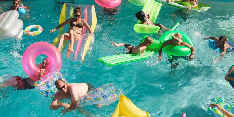 Overhead view of a pool party