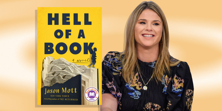 """Illustration of Jenna Bush Hager and the book """"Hell of a Book"""""""