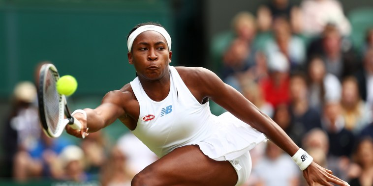 Coco Gauff stretches to play a forehand in her fourth round Wimbledon match against Germany's Angelique Kerber on July 05, 2021, in London.