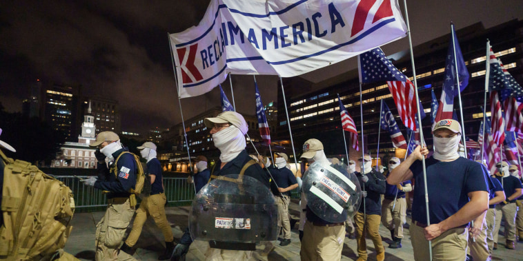 Members of the Patriot Front, a white supremacist group, march in Philadelphia, on July 3, 2021.