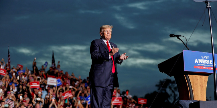 Image: Former President Donald Trump arrives to speak to his supporters during the Save America Rally in Sarasota