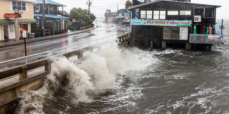 Tropical Storm Elsa makes landfall on July 7, 2021, in Cedar Key, Fla.
