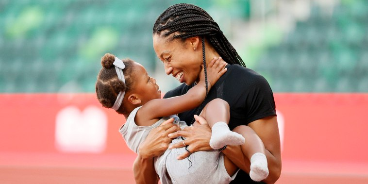 Allyson Felix celebrates with her daughter